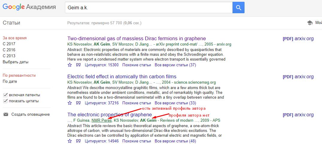 Профиль автора в Google Scholar