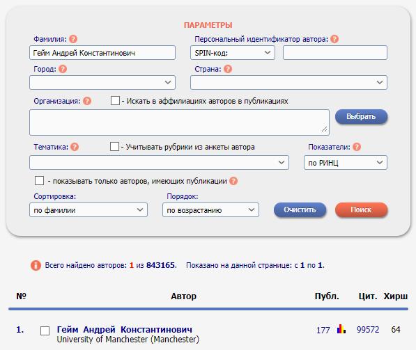 Расширенный Поиск автора в РИНЦ: индекс Хирша, публикации, цитирования