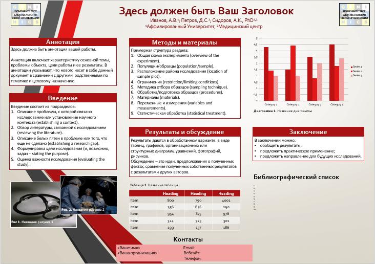 Шаблон стендового доклада / постерной презентации