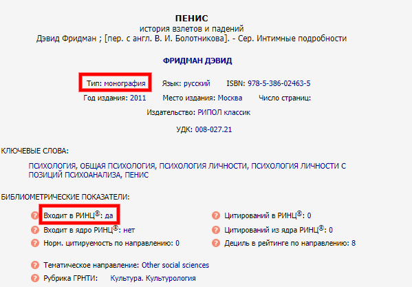 """Монография """"Про пенис"""" входит в РИНЦ"""